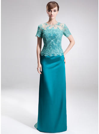 Charmeuse Lace Short Sleeves Mother of the Bride Dresses Scoop Neck Sheath/Column Beading Sequins Sweep Train