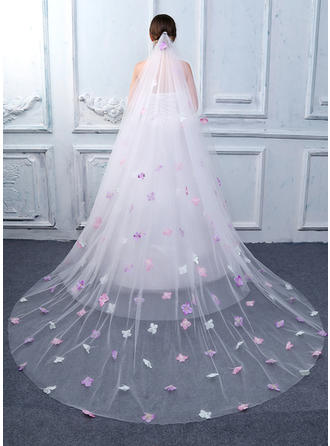 Cathedral Bridal Veils Tulle/Lace Two-tier Oval With Cut Edge Wedding Veils