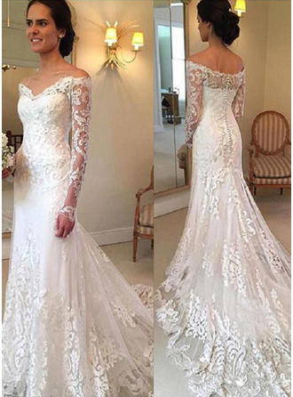 Trumpet/Mermaid Off-The-Shoulder Floor-Length Court Train Wedding Dresses With Lace Appliques Lace