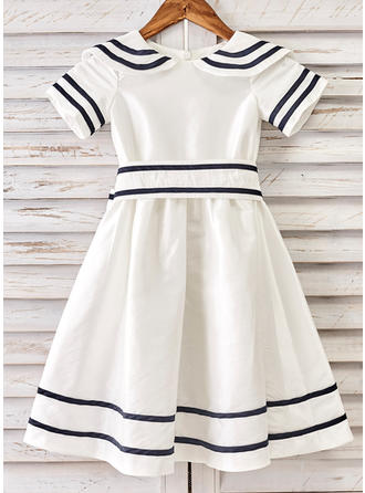 Sexy Tea-length A-Line/Princess Flower Girl Dresses Peter Pan Collar Taffeta Short Sleeves