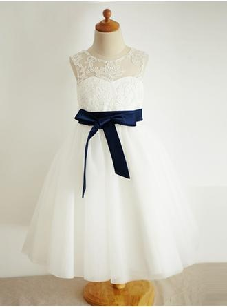 A-Line/Princess Scoop Neck Tea-length With Sash Tulle/Lace Flower Girl Dress