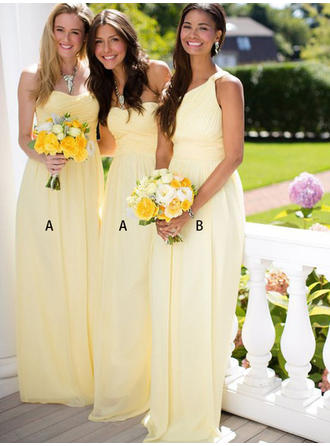 Chiffon Sleeveless A-Line/Princess Bridesmaid Dresses Sweetheart One-Shoulder Ruffle Floor-Length (007145028)
