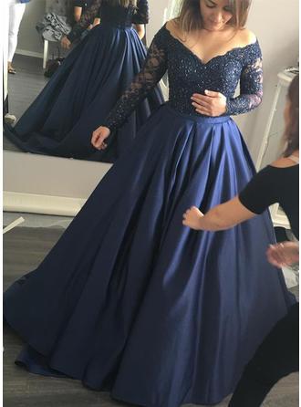 Платье для Балла Выкл-в-плечо Sweep/Щетка поезд Вечерние Платье с развальцовка