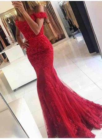 Trumpet/Mermaid Off-the-Shoulder Tulle Sleeveless Sweep Train Appliques Lace Evening Dresses