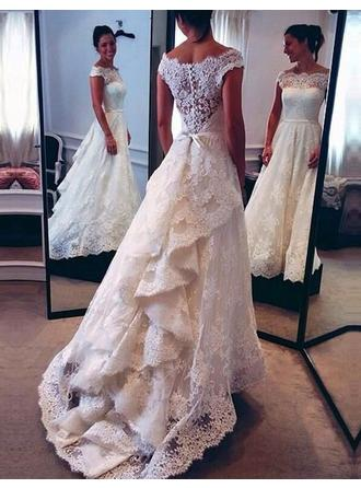 A-Line/Princess Off-The-Shoulder Sweep Train Wedding Dress With Cascading Ruffles