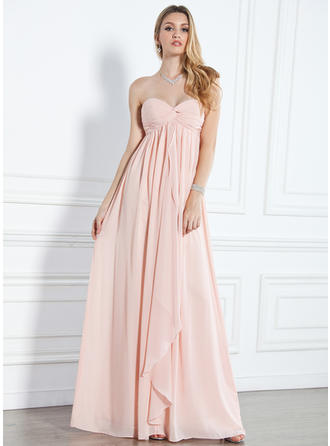 Empire Sweetheart Floor-Length Evening Dresses With Ruffle