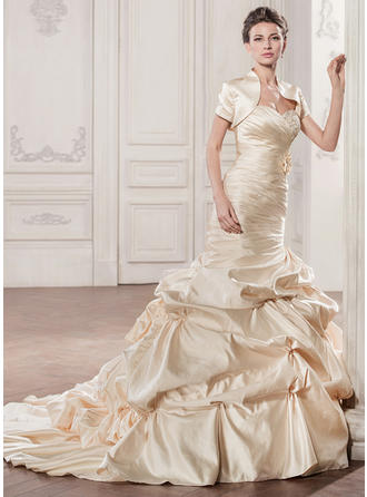Flattering Chapel Train Trumpet/Mermaid Wedding Dresses Sweetheart Satin Sleeveless