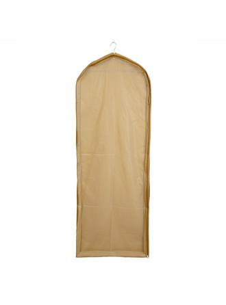 Housse à vêtements Longueur de robe Fermeture sur le côté Tulle/PVC Champagne Housse pour tenue de mariage