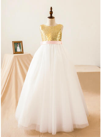 A-Line/Princess Floor-length Flower Girl Dress - Tulle/Sequined Sleeveless Scoop Neck With Sequins/Bow(s)/Back Hole