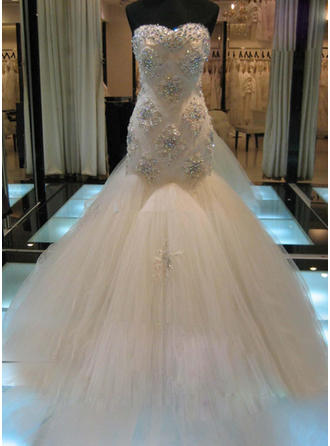 Newest Cathedral Train Trumpet/Mermaid Wedding Dresses Sweetheart Tulle Sleeveless (002147798)