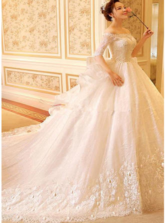 Ball-Gown Off-The-Shoulder Royal Train Wedding Dress With Beading Appliques Lace Cascading Ruffles