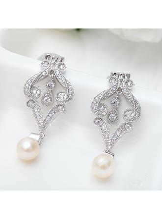Ohrringe Kupfer/Zirkon/Platin überzogen Faux-Perlen Durchbohrt Damen Hochzeits- & Partyschmuck