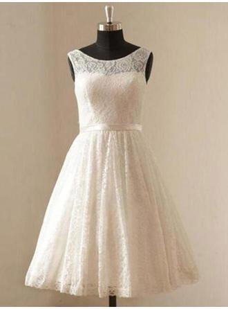 A-Line/Princess Scoop Knee-Length Wedding Dresses With Sash