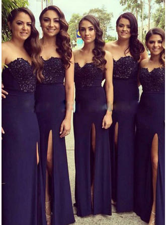 Chiffon Lace Sleeveless A-Line/Princess Bridesmaid Dresses Sweetheart Split Front Floor-Length