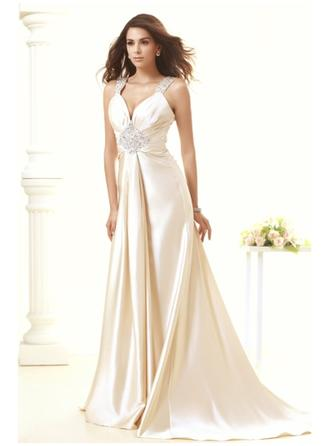 Sheath/Column Deep V Neck Sweep Train Wedding Dress With Beading Sequins