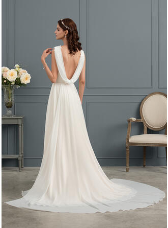 A-Line V-neck Sweep Train Chiffon Wedding Dress