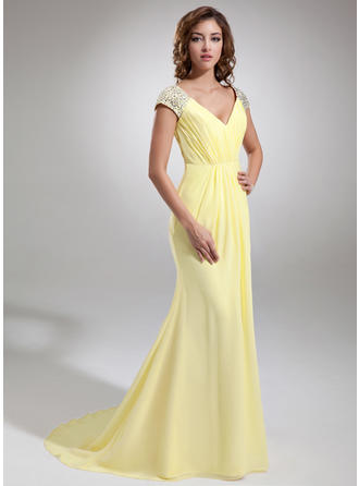 Trumpet/Mermaid V-neck Chiffon Sleeveless Sweep Train Ruffle Beading Evening Dresses