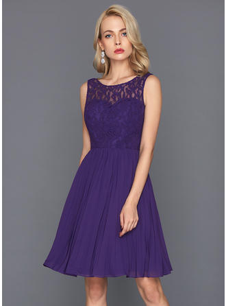 Knee-Length A-Line/Princess Sleeveless Chiffon Cocktail Dresses