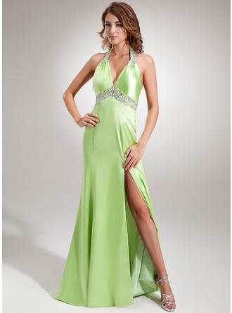 Trumpet/Mermaid Halter Sweep Train Evening Dress With Ruffle Beading Sequins Split Front