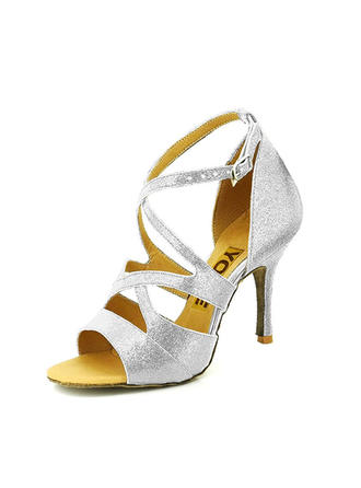Women's Latin Heels Sandals Pumps Sparkling Glitter Dance Shoes