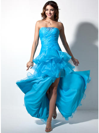 Sheath/Column Sweetheart Floor-Length Asymmetrical Organza Prom Dress With Ruffle Beading Split Front Cascading Ruffles