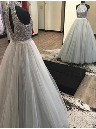 Tulle Sleeveless A-Line/Princess Prom Dresses Halter Beading Floor-Length