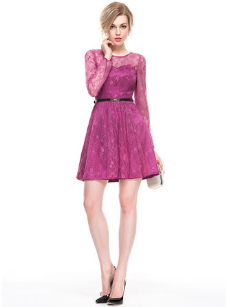 A-Line/Princess Scoop Neck Lace Long Sleeves Short/Mini Cocktail Dresses