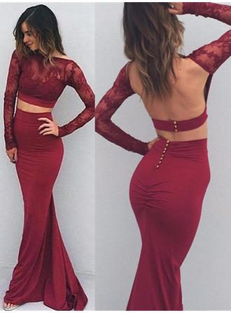 Jersey Long Sleeves Trumpet/Mermaid Prom Dresses Appliques Lace Floor-Length