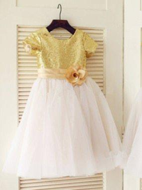 Scoop Neck A-Line/Princess Flower Girl Dresses Tulle/Sequined Flower(s) Short Sleeves Knee-length