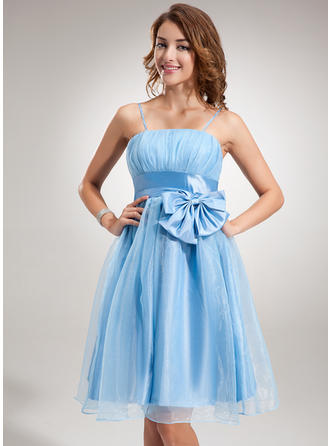 Empire Ruffle Bow(s) Organza Homecoming Dresses Sleeveless Knee-Length