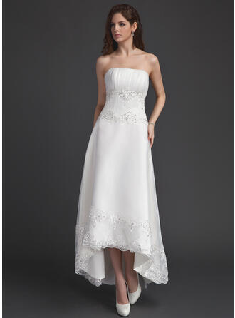 A-Line Strapless Asymmetrical Organza Wedding Dress With Ruffle Lace Beading Sequins