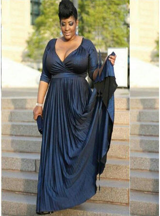 A-Line/Princess V-neck Court Train Mother of the Bride Dresses With Ruffle (008212792)
