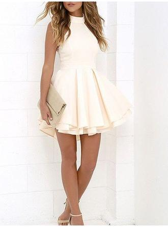 A-Line/Princess Satin Cocktail Dresses Ruffle High Neck Sleeveless Short/Mini