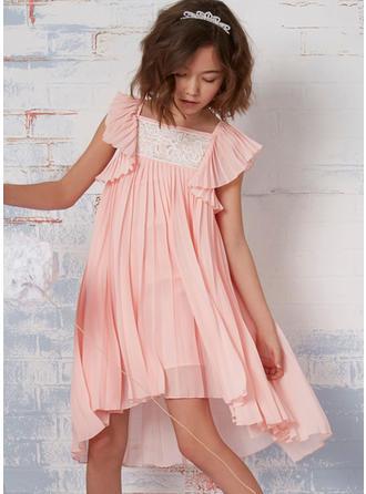 Vestidos princesa/ Formato A Decote quadrado Curto/Mini com Pregueado Tecido de seda Vestidos de daminha