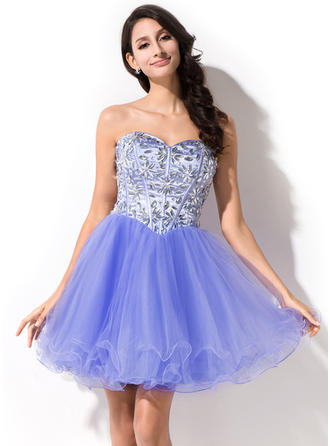 Beautiful Tulle Prom Dresses A-Line/Princess Short/Mini Sweetheart Sleeveless
