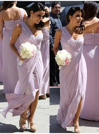 Chiffon Sleeveless A-Line/Princess Bridesmaid Dresses One-Shoulder Ruffle Floor-Length
