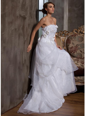 Flattering Court Train A-Line/Princess Wedding Dresses Strapless Satin Organza Sleeveless