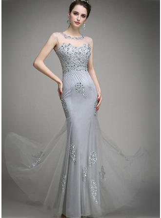 Sheath/Column Scoop Neck Floor-Length Evening Dress With Beading