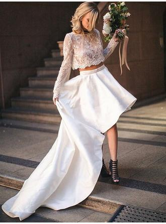 Elegant Satin Wedding Dresses A-Line/Princess Asymmetrical Scoop Long Sleeves