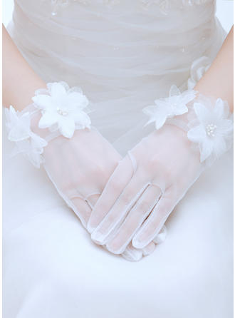 Voile Ladies' Gloves Wrist Length Bridal Gloves Fingertips Gloves