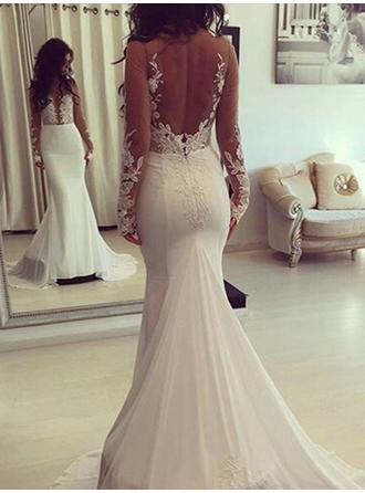 Court Train Trumpet/Mermaid Modern Chiffon Wedding Dresses