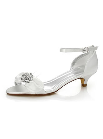 Women's Sandals Dyeable Shoes Low Heel Satin With Bowknot Rhinestone Wedding Shoes