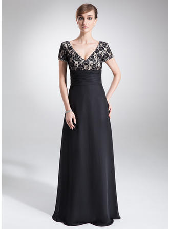 Ruffle Beading V-neck Fashion Chiffon Lace Mother of the Bride Dresses