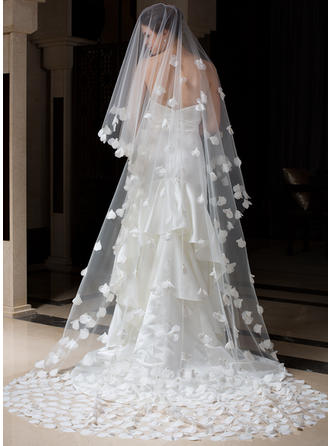 Cathedral Bridal Veils Tulle One-tier Oval/Drop Veil With Cut Edge Wedding Veils