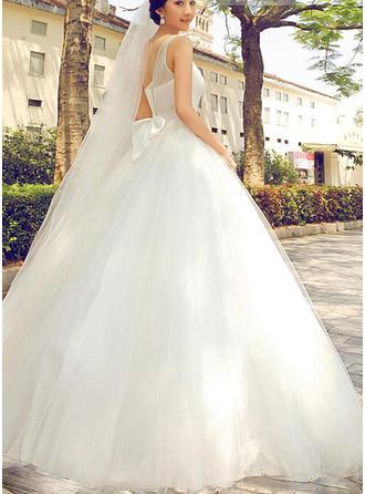 ثوب حفلة الطول الأرضي فستان الزفاف مع مطرز بالخرز أقواس
