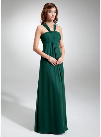 Empire-Linie V-Ausschnitt Bodenlang Brautjungfernkleider mit Rüschen