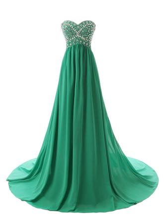 A-Line/Princess Sweetheart Court Train Evening Dress With Beading