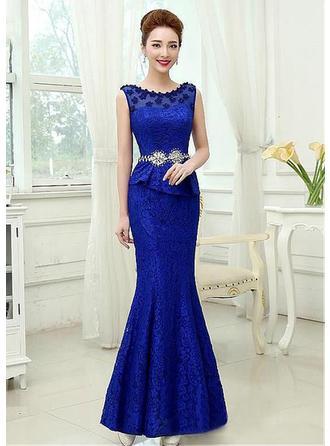 Trumpet/Mermaid Scoop Neck Floor-Length Evening Dress With Beading Flower(s)