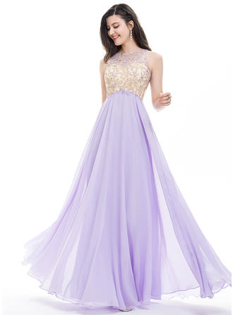Sleeveless A-Line/Princess Prom Dresses Scoop Neck Beading Sequins Floor-Length