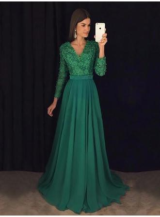 A-Line/Princess V-neck Sweep Train Prom Dresses With Lace Beading Sequins